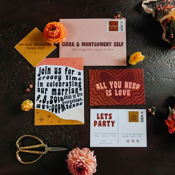 a whimsy and fun 70s invitation suite done in pink, red, gold and black plus some blooms