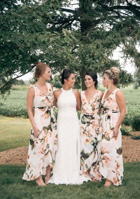 wide strap high low maxi wrap bridesmaid dress with a floral print can be worn after the wedding in summer or spring