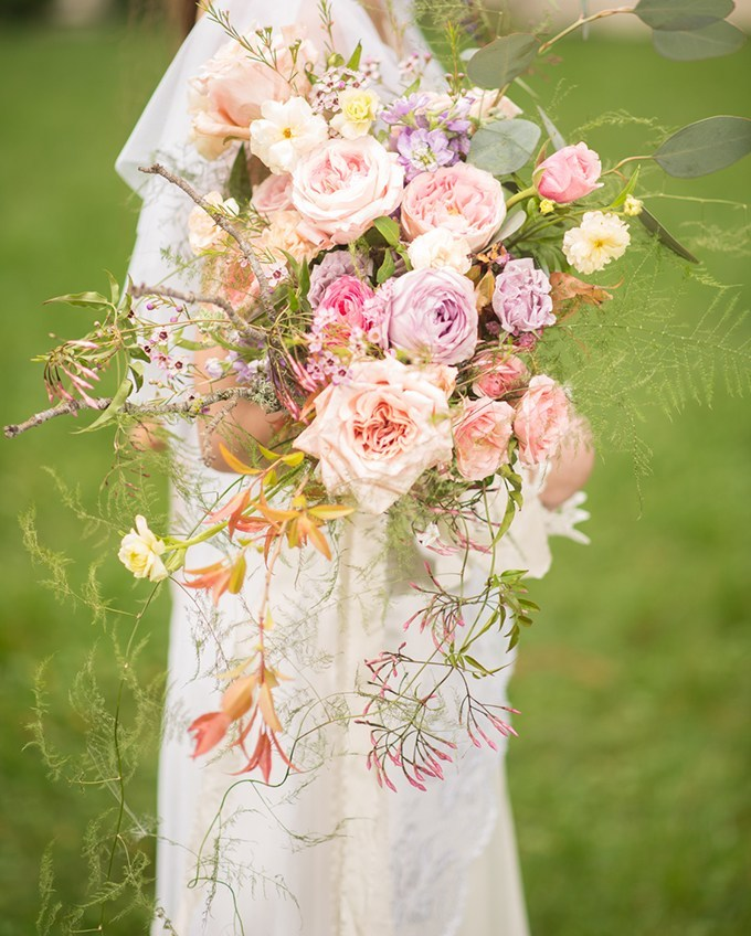 The wedding bouquet was a lush and truly magical one, with lavender and blush blooms and greenery