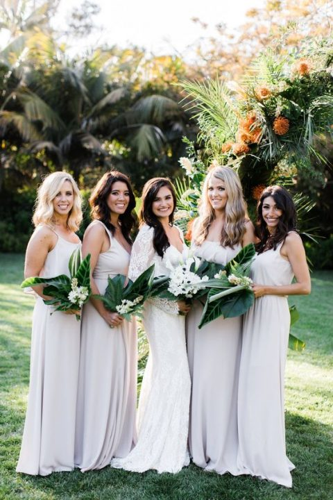simple white strap maxi bridesmaid dresses will prevent overheating on a hot wedding day, great for outdoor weddings