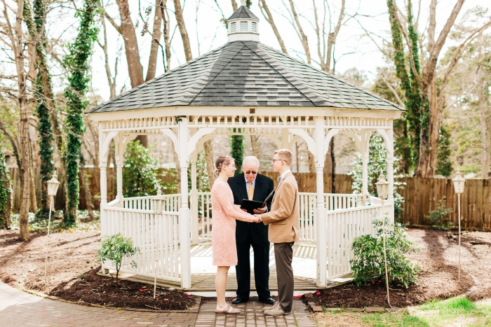 The couple shared their love and tied the knot in front of a white gazebo in the garden