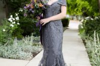 07 a graphite grey mermaid wedding dress with an off the shoulder neckline for a modern Gothic bride