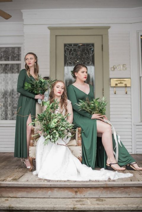 green maxi wrap bridesmaid dresses with long sleeves are amazing for a summer or early fall wedding