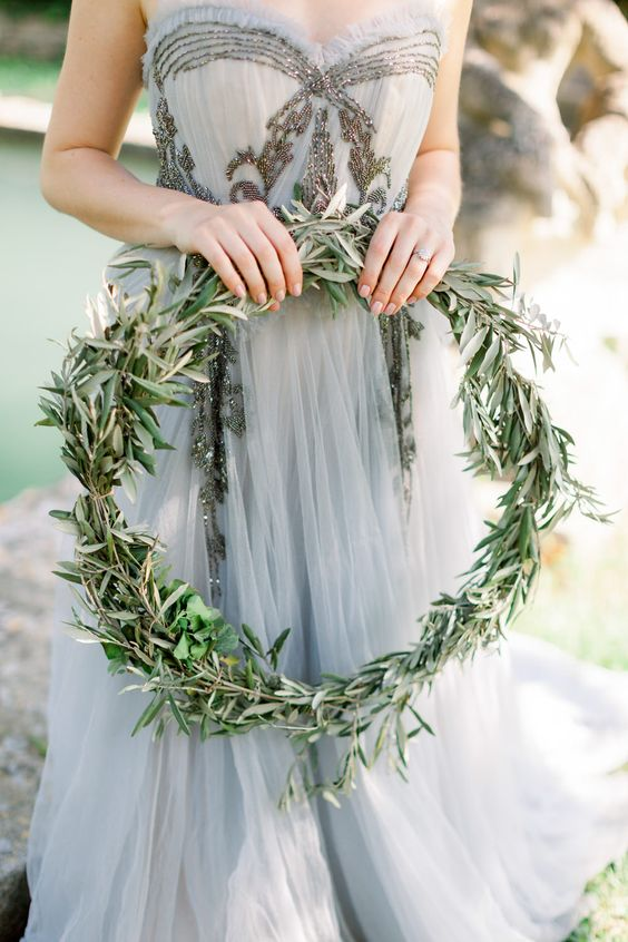 a strapless embellished and embroidered grey wedding dress is a unique idea for a bride