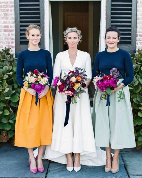 casual and bright bridesmaid looks with mismatching tops and full midi skirts plus heels are great for a no fuss wedding