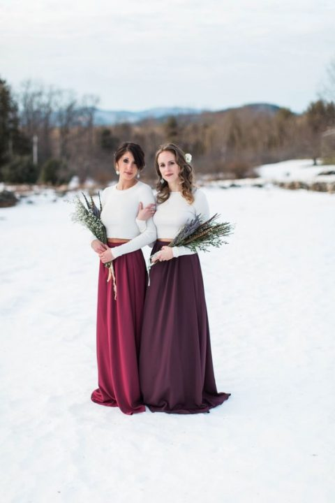 chic bridesmaid separates with plain white crop tops and fuchsia and purple maxi skirts
