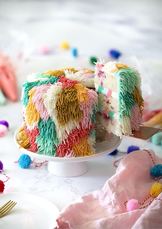 a super colorful sugar fringe wedding cake will easily fit a bright 70s disco wedding