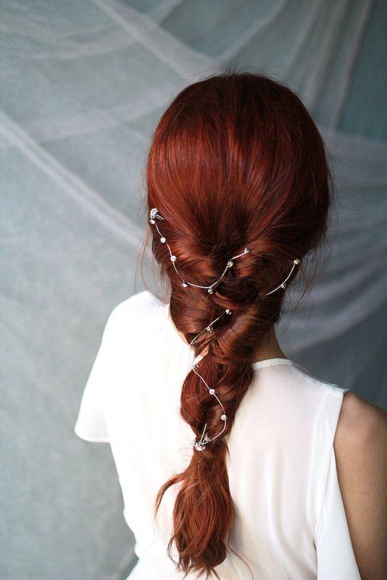 a bold red bridal braid with a constellation crystal hair vine
