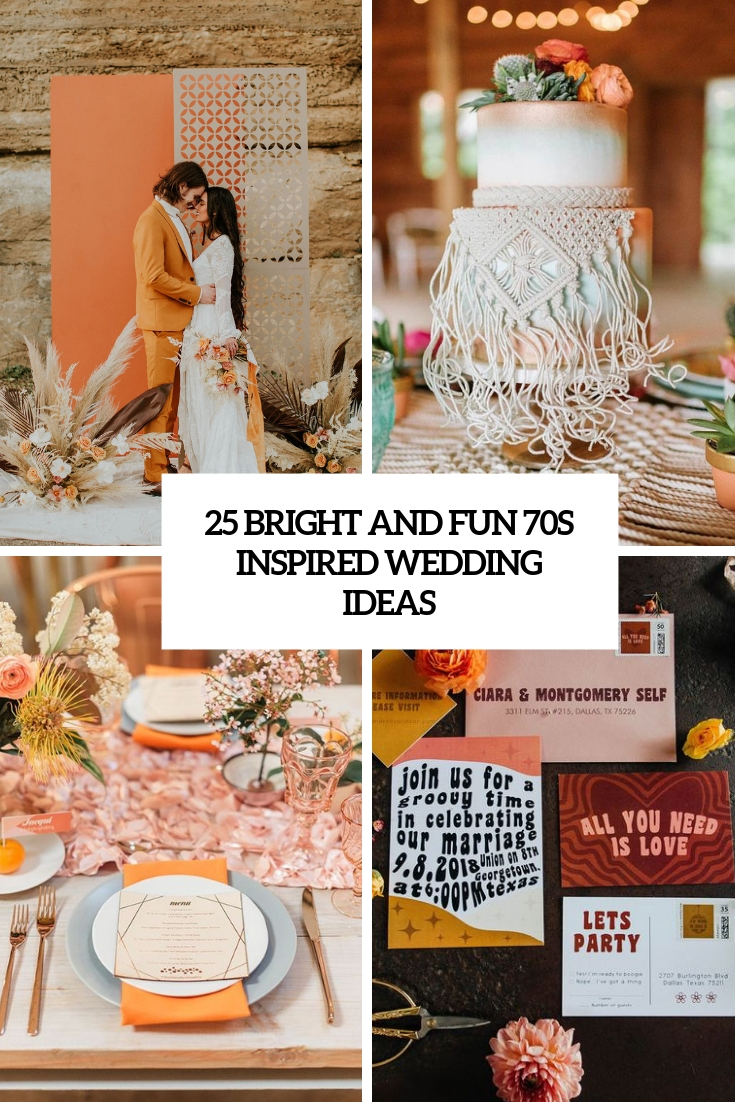 bright and fun 70s inspired wedding ideas cover
