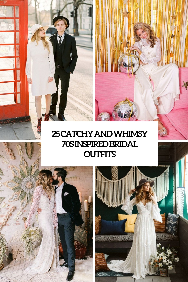 catchy and whimsy 70s inspired bridal outfits cover