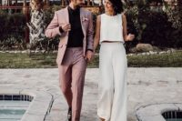 26 a white sleeveless crop top and wideleg pants for a casual and non-typical bridal look