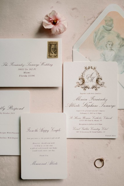 Envelopes for invitations were decorated the same way as a wedding cake