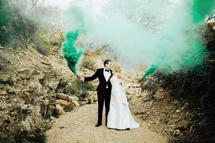 add a colorful touch to your wedding portraits with colorful smoke bombs like here