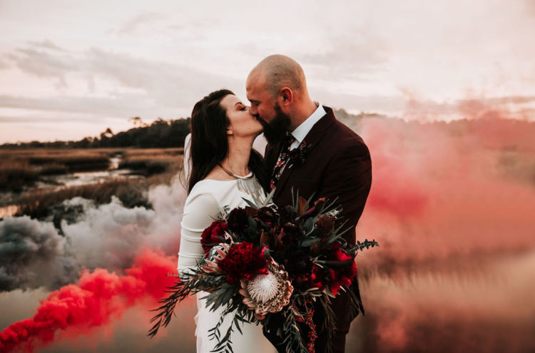 bold red and grey smoke that creates a mood and an impression in the photo