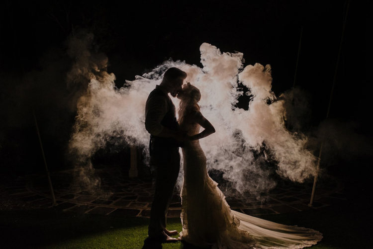 light up the space and use smoke bombs to get unique wedding photos