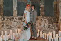 01 This colorful and fun wedding in London was filled with DIYs for personalization and the brides were wearing creative outfits