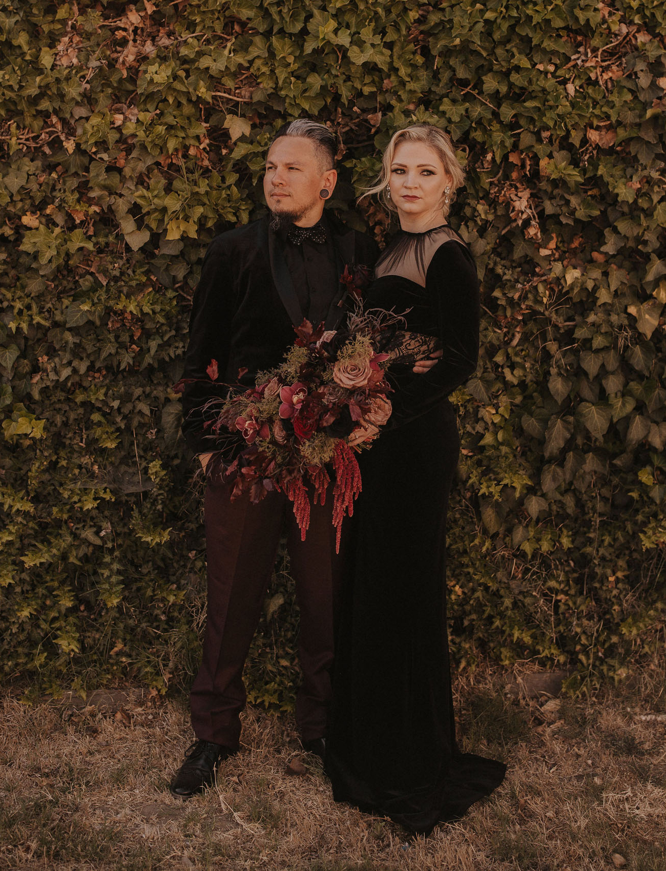 This couple went for a Gothic Halloween wedding in moody shades and with refined touches