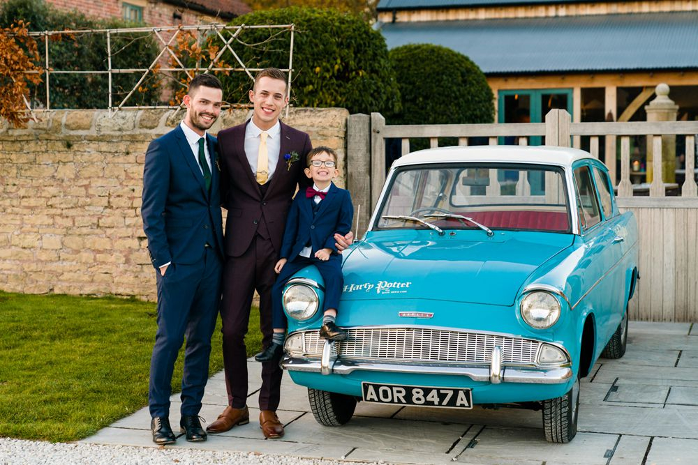 This couple went for a bright jewel toned wedding with Harry Potter theme