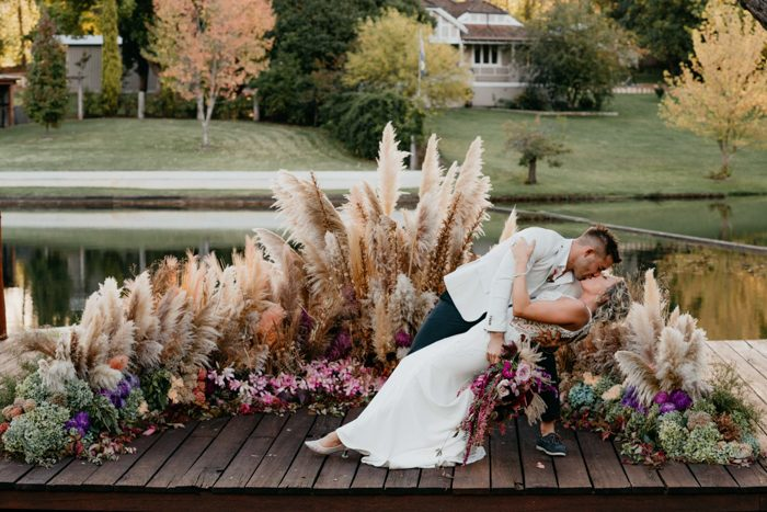 This couple went for a harvest themed wedding with a whole explosion of blooms
