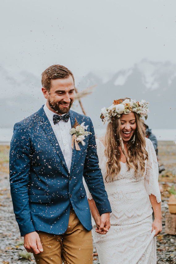 DIY Rainy Alaska Wedding With Kayaks