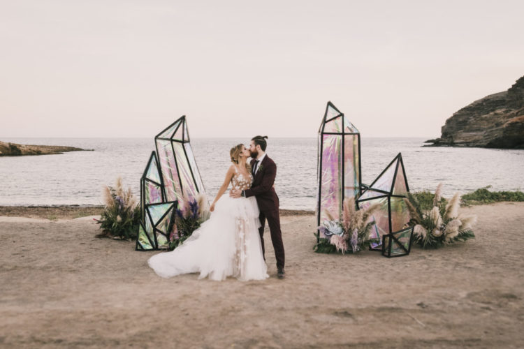 Spanish Beach Wedding With Festival Vibes And Iridescent Wedding Decor