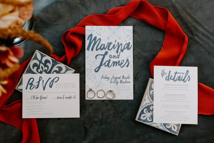 The wedding stationery reflected the theme - blues and touches of Morocccan decor