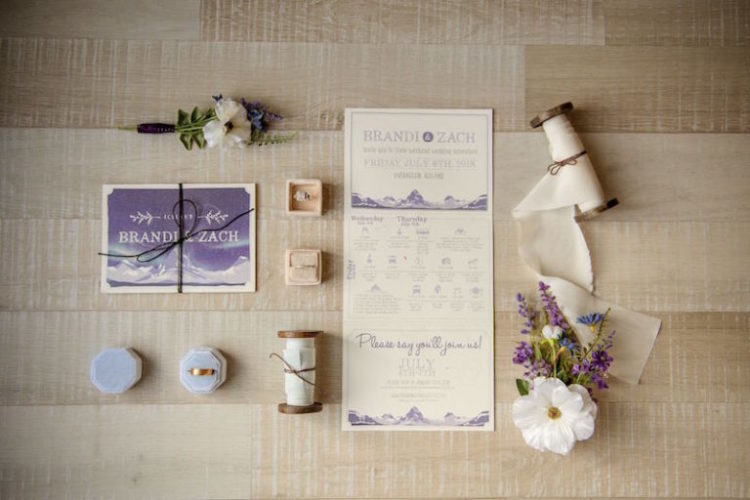 Their invitation suite was done in purple and lilac and featured Northern Lights