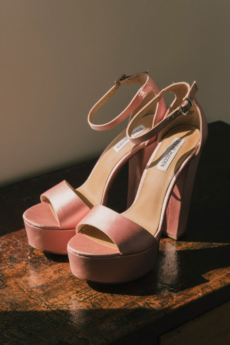 Her shoes were pink platform ones to match the girlish yet bold look