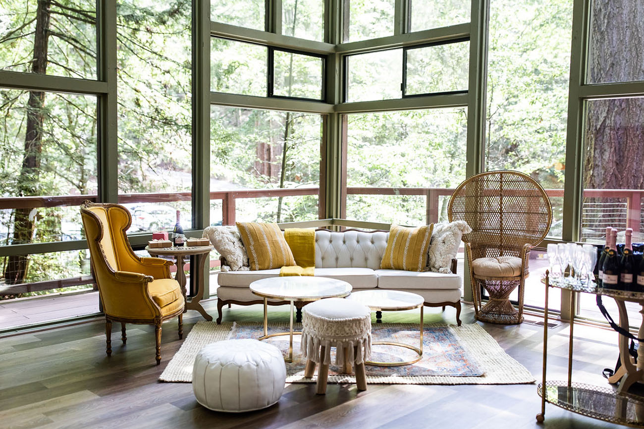 The lounge was elegant and boho, done in neutrals and mustard tones and with a Moroccan feel