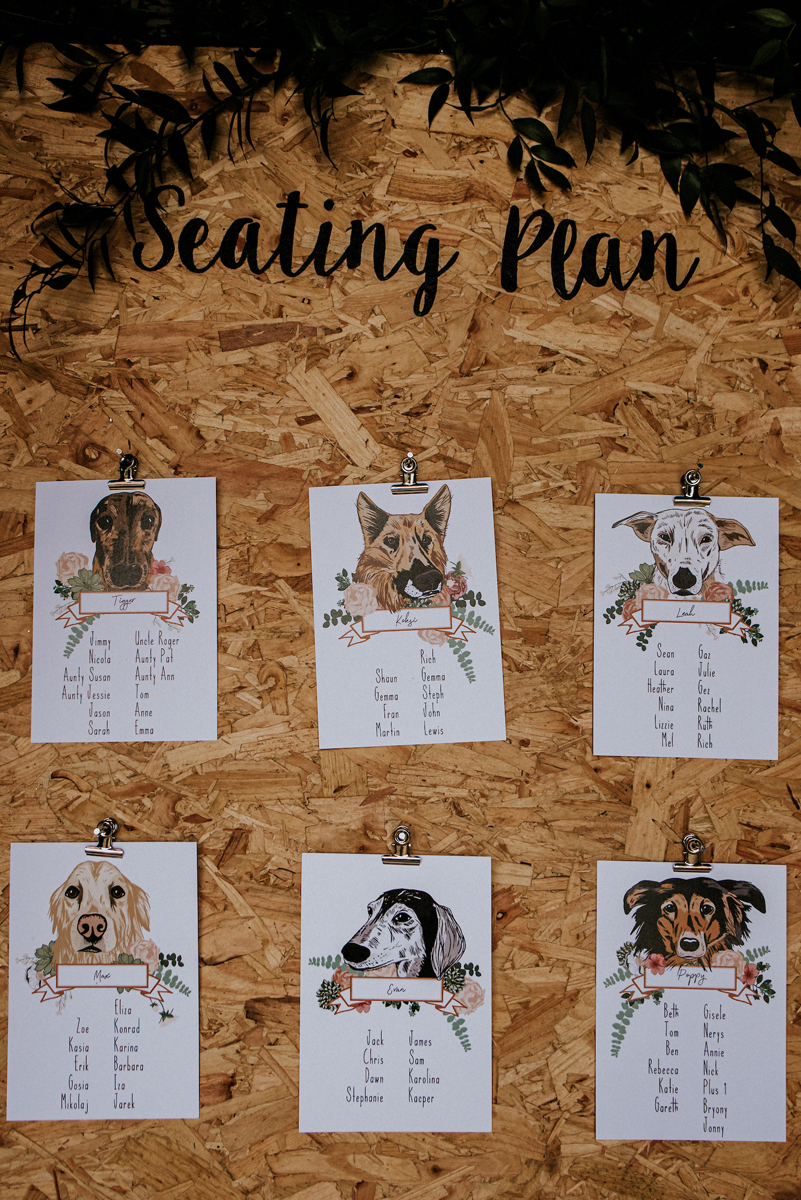 The brides did a lot of DIYs for the wedding including this cute doggie seating chart