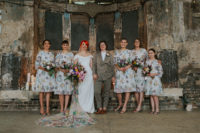 04 The bridesmaids were wearing embroidered floral knee dresses with high necklines and long sleeves