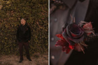 04 The groom was wearing a black velvet tux, burgundy pants, black shoes and a moody rose boutonniere