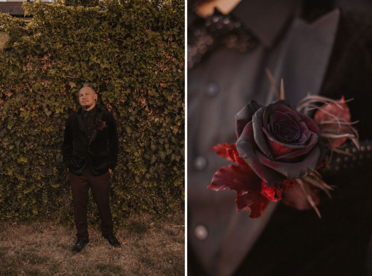 The groom was wearing a black velvet tux, burgundy pants, black shoes and a moody rose boutonniere
