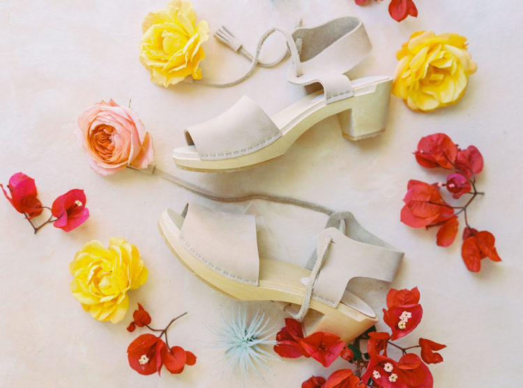 The wedding shoes were neutral clogs, which are a veyr comfortable option