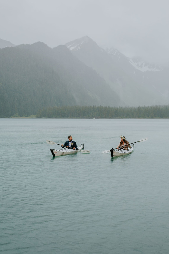 The couple went kayaking for fun, the groom proposed during it several years ago