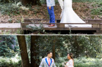 05 The groom was wearing a bright cobalt suit with a red tie and a colorful and printed blazer
