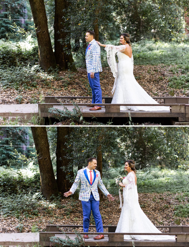 The groom was wearing a bright cobalt suit with a red tie and a colorful and printed blazer