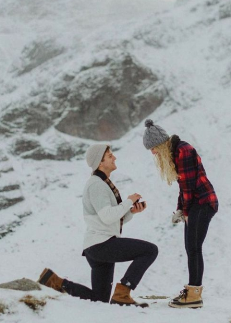 a romantic proposal in the mountains is great if you two love walking there