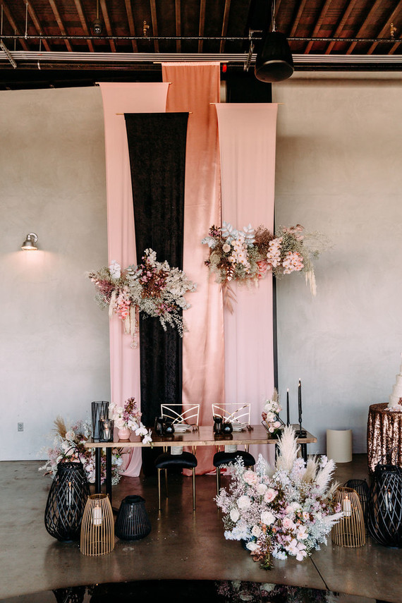 The reception was gorgeously done in blush and black, with lots of gold touches for a chic look