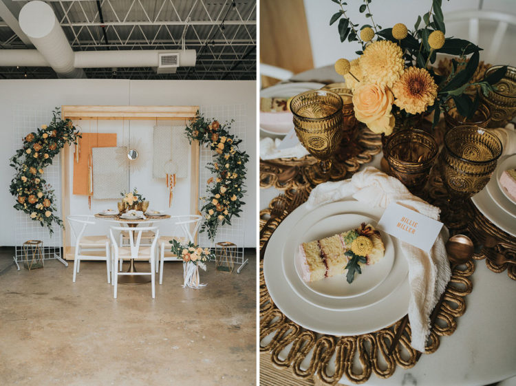 The wedding tablescape was done with woven placemats, amber glasses, mustard blooms and greenery plus neutral napkins