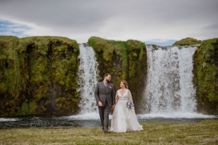 A waterfall became a nice backdrop for the wedding