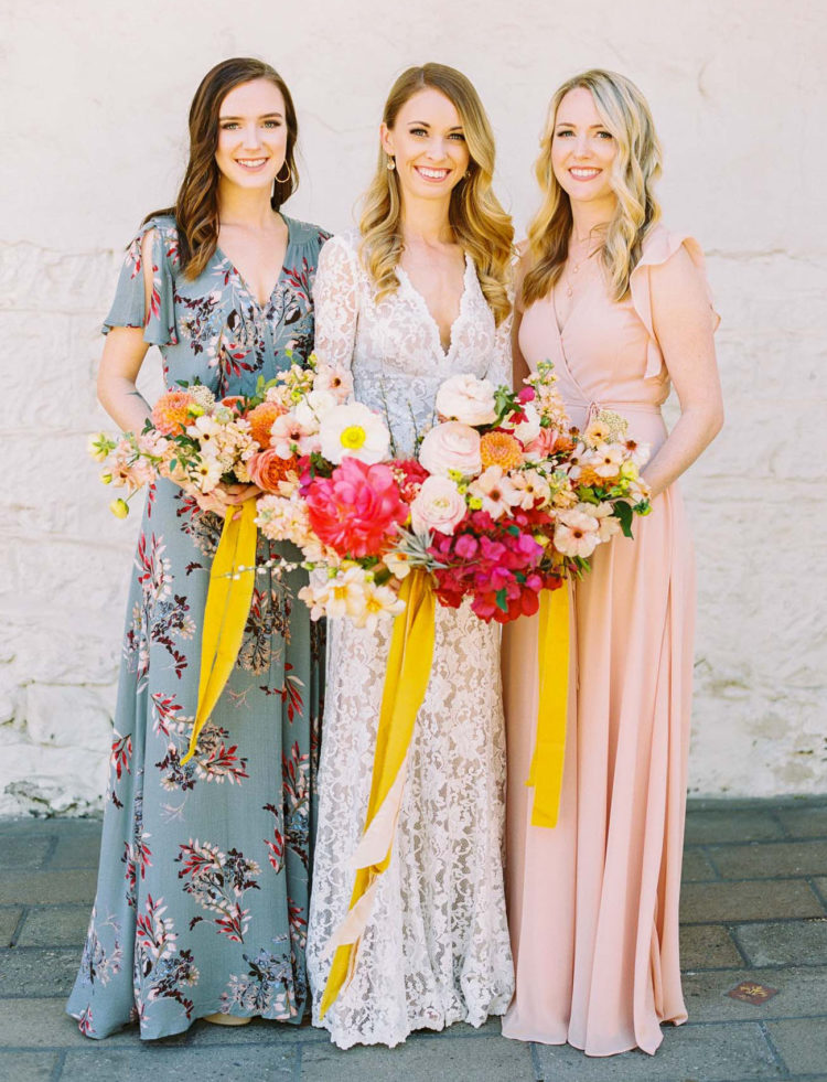 The bridesmaids were wearing mismatching maxi wrap dresses