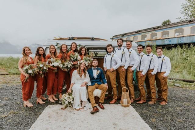 The groomsmen were wearing mustard pants, white shirts, black suspenders and bow ties