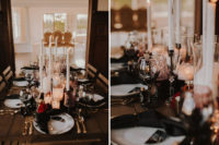 07 The reception was deep dark – with lots of pillar and tall and thin candles, black napkins, burgundy blooms and chic cutlery