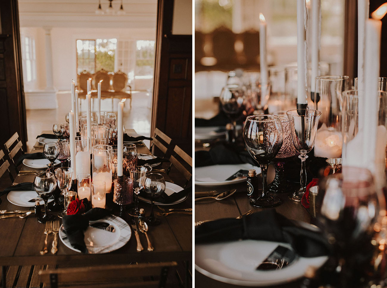 The reception was deep dark   with lots of pillar and tall and thin candles, black napkins, burgundy blooms and chic cutlery