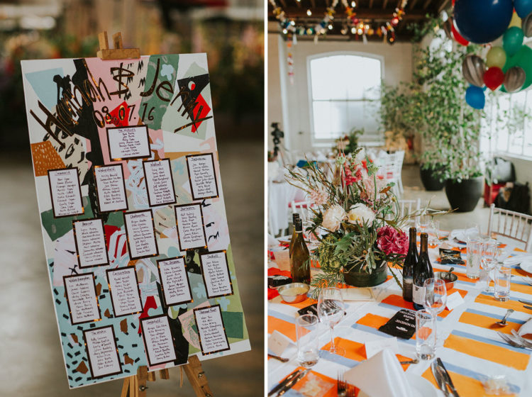 The wedding seating chart was done with lots of colors and gold leaf, the tablescapes were done with lush florals and colorful tablecloths