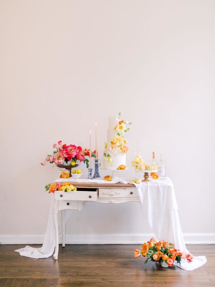 a simple wedding dessert table decor