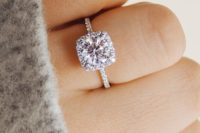 10 a delicate cushion shaped halo diamond engagement ring is a timeless and chic solution that many girls will like
