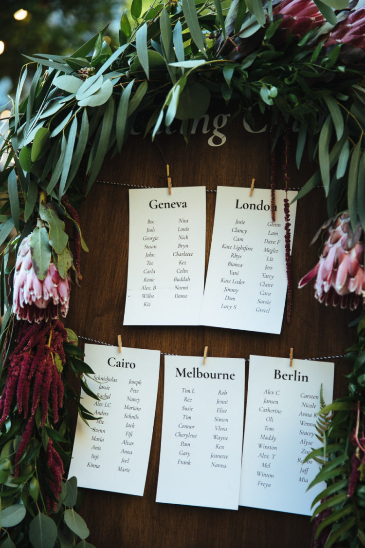 The wedding seating chart was done with greenery and burgundy and pink blooms
