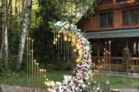 13 a moon wedding ceremony altar with bulbs, lights around and lush pink and white blooms all over